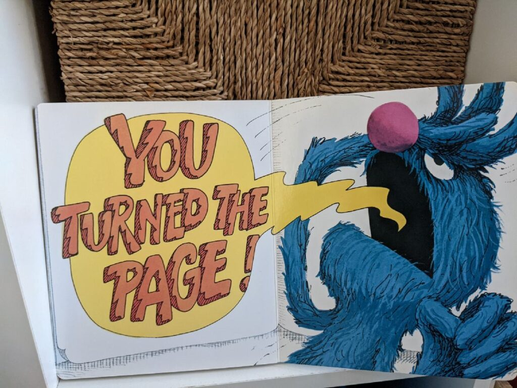 """The Monster at the End of this Book page - Grover yelling """"You turned the page!"""""""