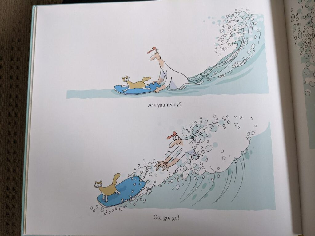 Iggy gets pushed onto his first wave